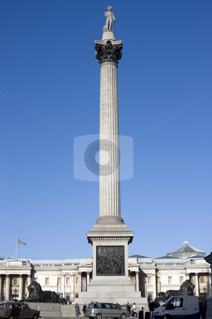 Nelsons Column stock photo, Trafalgar Square with Nelsons Column and a clear blue sky by Darren Pattterson