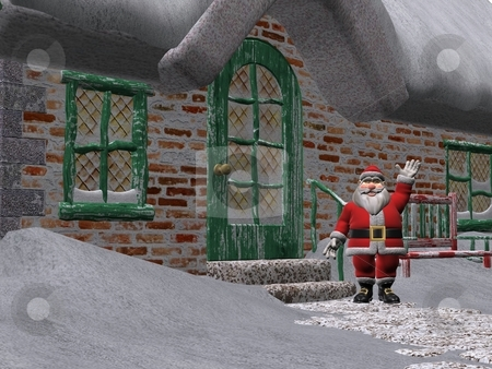 Santa Claus stock photo, 3D rendered Santa Claus outside his house by Patrik Ruzic