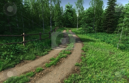Summer country stock photo, 3D rendered image of summer country and road by Patrik Ruzic