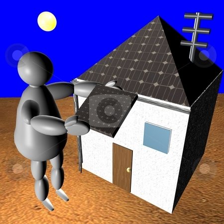 3D puppet putting solar panel on house stock photo, 3D puppet putting solar panel on rooftop of his house by Fabio Alcini