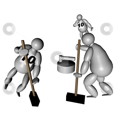3D Puppets playing curling stock photo, 3D Puppets playing curling over white background by Fabio Alcini