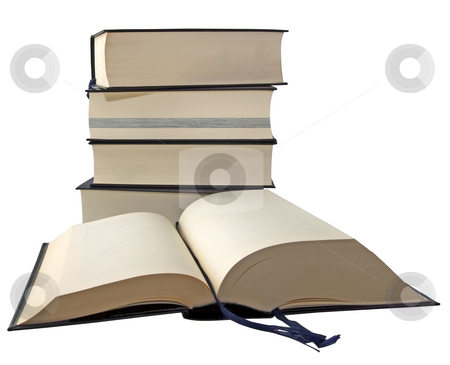 Books stock photo, Great and heavy books in a pile over white background by Fabio Alcini