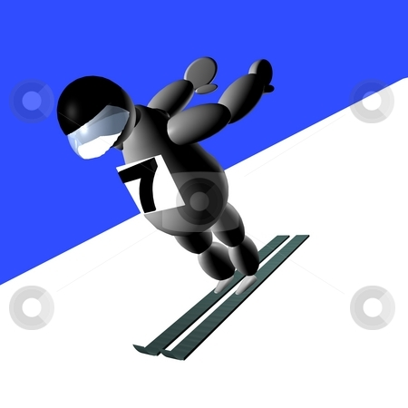 3D Puppet doing ski jumping stock photo, 3D Puppet doing ski jumping over white background by Fabio Alcini