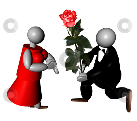 Love between puppets stock photo, 3D puppet dressed in smoking offering a red rose to his fianc???e with a red dress by Fabio Alcini