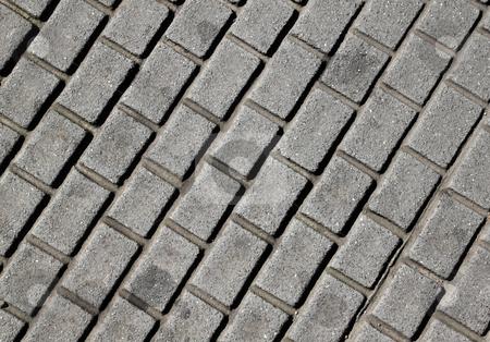 Modern cobllestone street close up. stock photo, Modern cobblestone street close up. by Stephen Rees