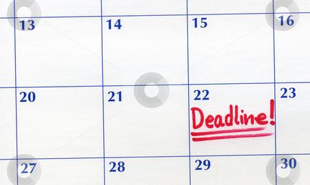 Deadline day written on a calendar. stock photo, Deadline day written on a calendar. by Stephen Rees