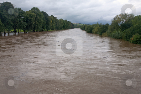 The river Wye flooding in Builth Wells, Wales UK. stock photo, The river Wye flooding in Builth Wells, Wales UK. by Stephen Rees