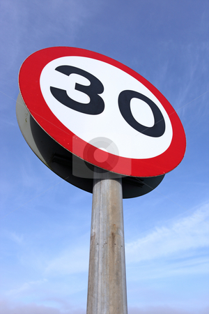 30 miles an hour speed limit sign. stock photo, 30 miles an hour speed limit sign. by Stephen Rees
