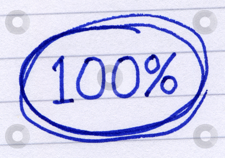100 percent circled, written in blue ink on white paper. stock photo, 100 percent circled, written in blue ink on white paper. by Stephen Rees