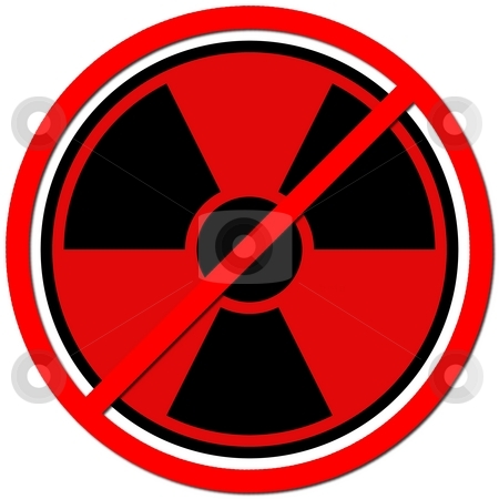Against Atom stock photo, Red sign against radiation on white background. by Henrik Lehnerer