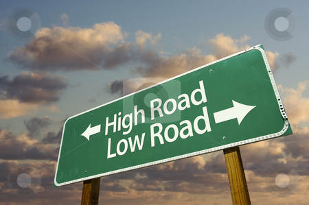 High and Low Road Green Road Sign stock photo, High and Low Road Green Road Sign with dramatic blue sky and clouds. by Andy Dean