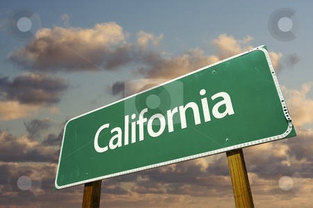 California Green Road Sign stock photo, California Green Road Sign with dramatic blue sky and clouds. by Andy Dean