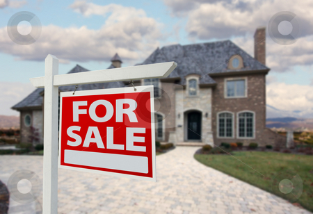 Home For Sale Sign & New House stock photo, Home For Sale Sign in Front of New House by Andy Dean