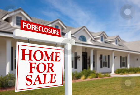 Foreclosure Home For Sale Real Estate Sign and House stock photo, Foreclosure Home For Sale Real Estate Sign in Front of New House by Andy Dean