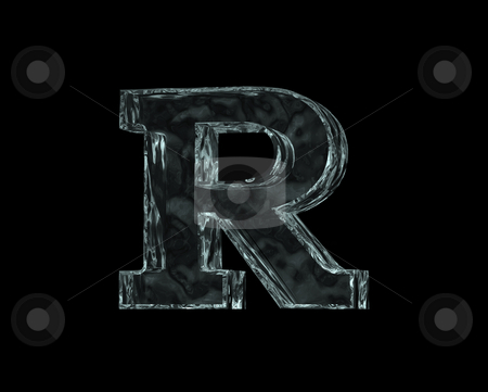 Frozen letter R stock photo, Frozen uppercase letter R on black background - 3d illustration by J?