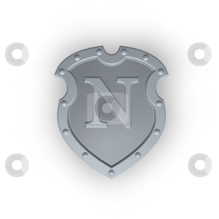 Shield with letter N stock photo, Metal shield with letter N on white background - 3d illustration by J?
