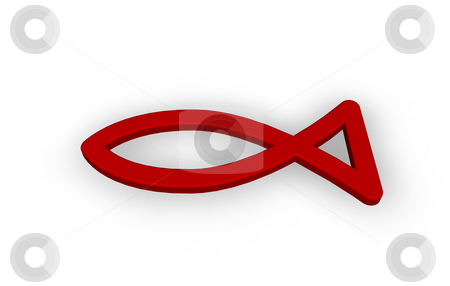 Fish stock photo, Red fish symbol on white background - 3d illustration by J?