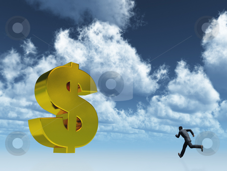 Running for profit stock photo, Running man and golden dollar symbol under cloudy blue sky - 3d illustration by J?