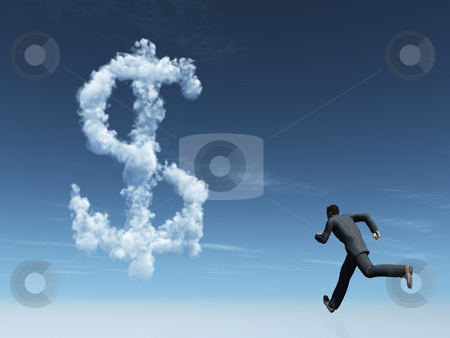 Money stock photo, Running man and cloudy dollar symbol in the sky - 3d illustration by J?