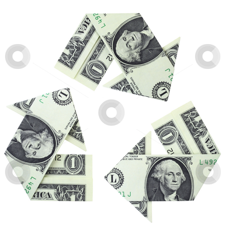 Recycling Money stock photo, Recycling logo created from folded dollar bills, isolated on a white background. by Mark Carrel
