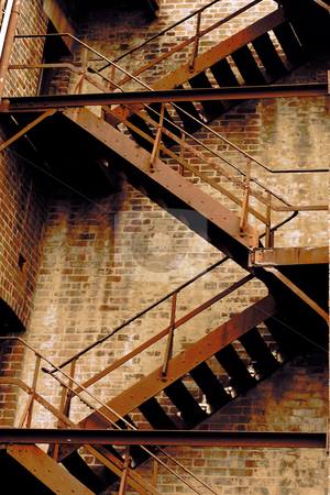 Fire stair stock photo, Fire stairs of an old dilapidated building by Leah-Anne Thompson