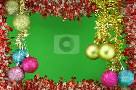 New Year's garland with colour balls stock photo, Bright New Year's garland, Christmas bouquet, green background. Beautiful colour balls decorate a composition. by Aleksandr Volokov