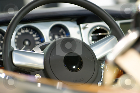 Interior of car stock photo, The view of the interior of luxury car by Tito Wong