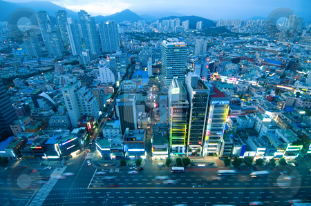 Aerial view of city stock photo, The evening of Busan city viewed from high position by Tito Wong