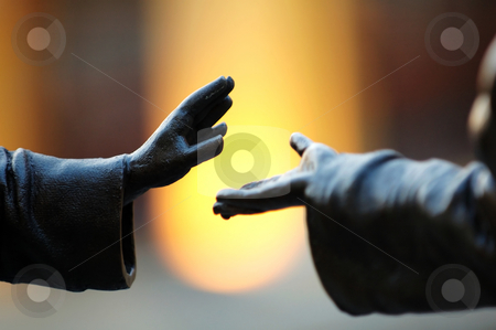 Hands stock photo, The abstract pose of hands over blur background by Tito Wong