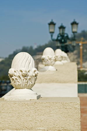 Handrail stock photo, The close up view of stone carved handrail by Tito Wong