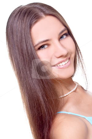 Woman in a blue dress stock photo, Woman in a blue dress posing on a white background by Artem Zamula