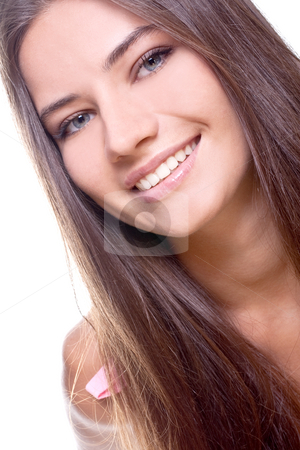 Beautiful woman face stock photo, Beautiful woman face on a white background by Artem Zamula