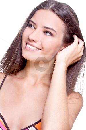 Beautiful woman face stock photo, Beautiful woman face on a white background by Artem Zamula