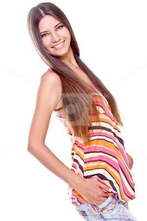 Woman in a multicolored shirt stock photo, Woman in a multicolored shirt posing on a white background by Artem Zamula