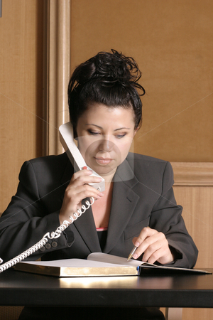 Lawyer of Business professional stock photo, Business professional on phone with schedule/diary by Leah-Anne Thompson