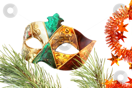 Venetian carnival mask stock photo, Carnival mask and christmas tree. Isolated on white by Olga Lipatova