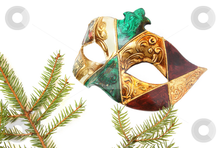 Venetian carnival mask stock photo, Carnival mask and christmas tree. Isolated on white by Olga Lipatova