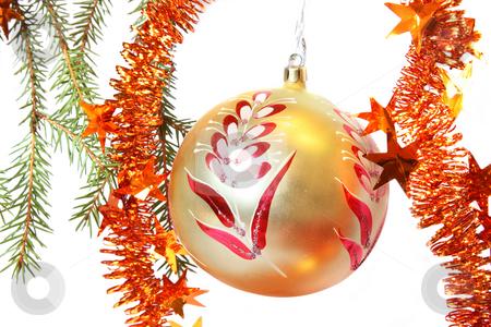 Christmas tree bauble stock photo, Christmas Tree, bauble and tinsel. Isolated on white by Olga Lipatova