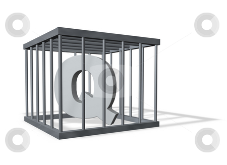 Big Q in a cage stock photo, Uppercase letter Q in a cage on white background - 3d illustration by J?
