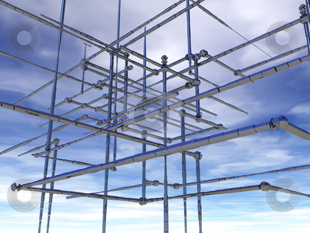 Abstract pipelines in the sky stock photo, Abstract metal construction under cloudy blue sky - 3d illustration by J?