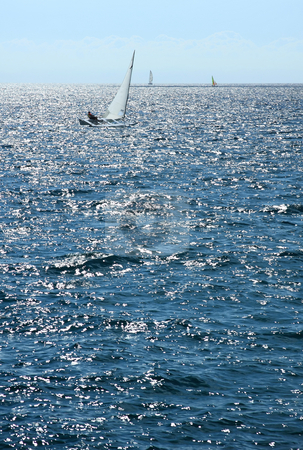 Sailboat stock photo, One sailboat sails quickly thanks to the strong wind by ARPAD RADOCZY