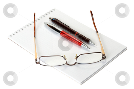 Set for record stock photo, Open a blank worksheet notebook, pen, pencil and eyeglasses on a white background. by Vladimir Blinov