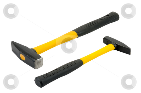 Two hammers.  stock photo, Two hammers of different sizes on a white background, isolated. by Vladimir Blinov