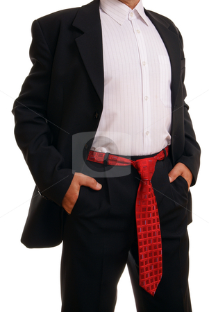 Man with ties stock photo, Man with ties in belt on white background by Jolanta Dabrowska