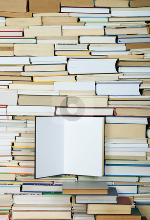 Book stock photo, Open book on background of arranged books by Jolanta Dabrowska