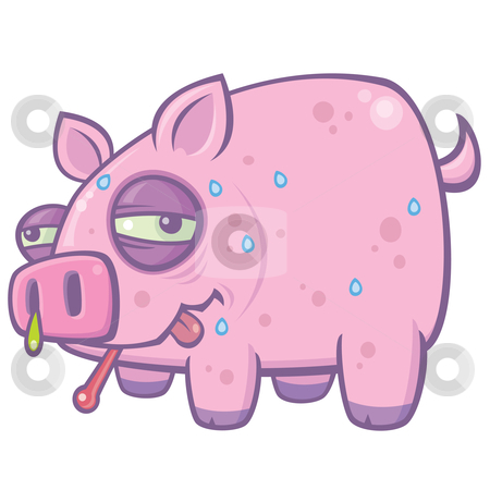 Cartoon Swine Flu Pig stock vector clipart, Vector cartoon illustration of a sweaty, sick pig with the Swine Flu. by John Schwegel