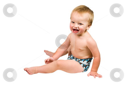 Cute Baby Boy Isolated Wearing Cloth Diaper  stock photo, A portrait of a cute baby boy isolated wearing a cloth diaper. by Travis Manley