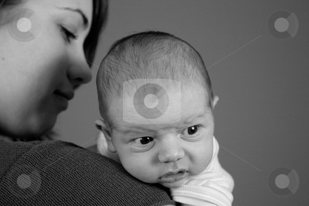 Newborn Baby Boy stock photo, A portrait of a newborn baby boy and his mother. Ten days old. by Travis Manley