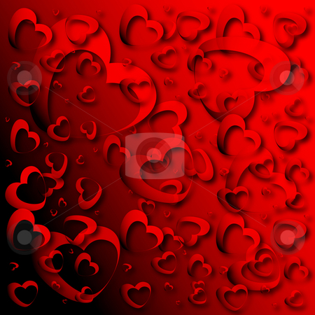 Red hearts stock photo, Red hearts made on red background by Alina Starchenko