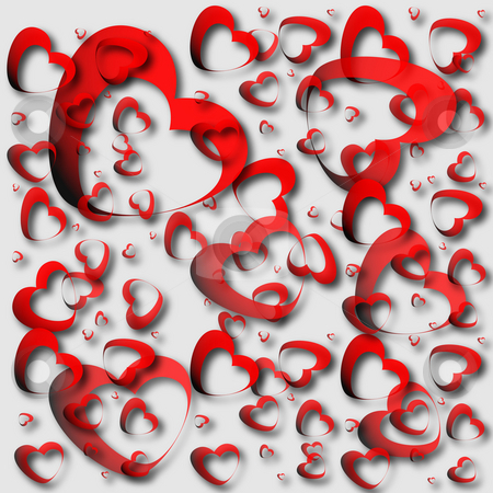 Red hearts and light background stock photo, Red hearts made on light background by Alina Starchenko